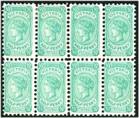Lot 11182:1901-10 'POSTAGE' Wmk 4th V/Crown Perf 12x12½ or 12½ SG #384 ½d blue-green Die I block of 8, Cat £24, ACSC #V11, Cat $40, left, right and central vertical perfs are single line P12.4, 3 units *.