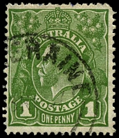 Lot 2110:1d Green dot on top of 2nd A of AUSTRALIA [VIII/29]