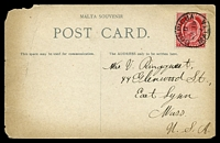 Lot 4323 [1 of 2]:1909 use of 1d red, cancelled with 'COSPICUA/D/JA19/09/MALTA' (A1) on PPC of 'Imtarfa Barracks-Malta.', to USA, card has faults.