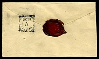 Lot 3967 [2 of 2]:1900 local use of 10c on 15c Envelope (HG #12), cancelled with blue boxed 'MELOEWEONG' (A2), squared-circle '[T]