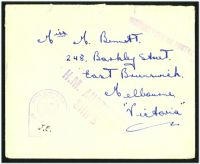 Lot 4867:1940s use of stampless cover to Melbourne, straight-line 'PASSED FREE OF POSTAG[E]