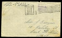 Lot 876:1945 use of stampless cover to Melbourne cancelled with 'PASSED FREE/1-PM/23OCT/1945/SURFACE-POSTAGE' (A1) machine, straight-line 'H.M.A./SHIPS' (A1) on face.