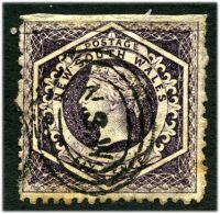 Lot 5715:1860-72 Diadems Wmk Double-Lined Numeral Perf 12 SG #148 6d violet, Cat £16, imperf at top, thick paper, creased at top and a few toned perfs.