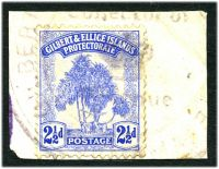 Lot 22890:Abemama: triple-circle 'GILBERT[ & ELLICE ISLANDS PROTECTORAT]E/Collector of/[crown]/Revenue/ABEMAMA' #59, on 2½d Pandanus.  PO c.1910.