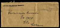 Lot 4485:1940s Long stampless cover to Melbourne, cancelled with 'PAID - DEFENCE FOR[CES]/MAIL/NO POSTAGE REQUI[RED]