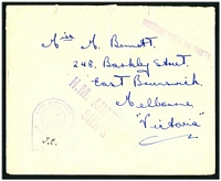 Lot 1034:1940s use of stampless cover to Melbourne, straight-line 'PASSED FREE OF POSTAG[E]
