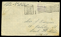 Lot 5333:1945 use of stampless cover to Melbourne cancelled with 'PASSED FREE/1-PM/23OCT/1945/SURFACE-POSTAGE' (A1) machine, straight-line 'H.M.A./SHIPS' (A1) on face.