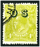 Lot 366:4d Olive Overprinted 'OS' - BW #116(OS)c Bluish opt, Cat $50.