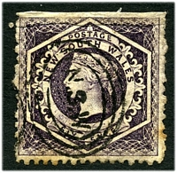 Lot 5549:1860-72 Diadems Wmk Double-Lined Numeral Perf 12 SG #148 6d violet, Cat £16, imperf at top, thick paper, creased at top and a few toned perfs.