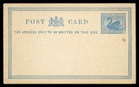 Lot 17712:1879 Swan 1d blue on off-white, PSSA #PC2 Cat $20, a few tonespots.