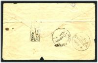 Lot 3793:Howrah: 'MAIL AGENT/HOWRAH/NOV 3' on stampless cover, '2.DELY/SYNTHEA/NOV. 4' (A1) arrival, boxed 'POSTAGE DUE/[ONE]