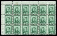 Lot 4076:1938-44 KGVI Definitives SG #606 1d green TLC block of 18 [plate 77] on coarse vertical mesh, (CP #M2d), unit on 3/6 with Damaged STAGE and thin W Z CP #M2dv(j), hinged in margin and small stain in margin.