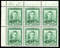Lot 23562:1938-44 KGVI Definitives SG #606 1d green TLC block of 6 [plate 115] on coarse vertical mesh (CP #M2d), unit 1/3 with Re-entry, top 3 units creased.