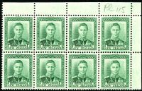 Lot 4226:1938-44 KGVI Definitives SG #606 1d green TRC block of 8 [plate 115] on coarse vertical mesh (CP #M2d), unit 1/21 & 1/22 with Re-entries.