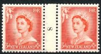 Lot 4448:1953-59 QEII Definitives SG #727 3d vermilion Die Ia-1b counter-coil pair '8' reading down, CP #NC1(g).