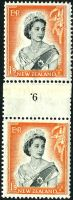 Lot 4083:1953-59 QEII Definitives SG #733b 1/9d black & red-orange vertical counter-coil pair '6.' (type c) inverted, CP #NC7(d), top unit has part plate '1B'.