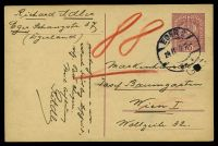 Lot 21108:Eger: double-circle 'EGER 2/24II19VII-/?' on 10h Postal Card to Vienna, filing hole.