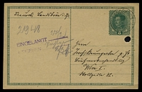 Lot 20717:Landskron: light 'LANDSKRON/25/2/18/IN BÖHMEN' on 8h Postal Card to Vienna, filing hole.