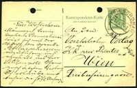 Lot 18155:Steinschonau: double-circle 'STEINSCHONAU/21I09-1/2a' on 5h Postal Card to Vienna, filing hole.
