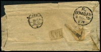 Lot 4177 [1 of 2]:Frontier TPO: tiny oval 'T/C.P/1.11.70/NO2' transit on tiny cover to Bombay, boxed '1AN' (B1) and poor triangular postage due handstamp, both on back.