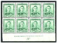 Lot 3969:1938-44 KGVI Definitives SG #606 1d green Plate 30 block of 8 on fine vertical mesh, (CP #M2c), 2 units hinged, same 2 units have small stain