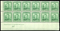 Lot 4225:1938-44 KGVI Definitives SG #606 1d green Plate 115 block of 12 on coarse vertical mesh (CP #M2d), unit 10/6 with Re-entry, 2 units hinged.