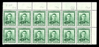 Lot 4171:1938-44 KGVI Definitives SG #606 1d green marginal block of 12 [plate 128] on coarse vertical mesh (CP #M2d), unit 1/23 with Re-entry.