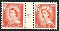 Lot 3996:1953-59 QEII Definitives SG #727 3d vermilion Die Ia-1b counter-coil pair '9.' reading down, CP #NC1(g).