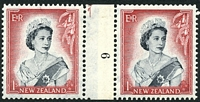 Lot 4174:1953-59 QEII Definitives SG #732 1/- black & carmine horizontal counter-coil pair '9' reading up, CP #NC5(b).
