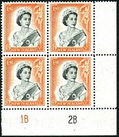 Lot 4424:1953-59 QEII Definitives SG #733b 1/9d black & red-orange plate 1A2B block of 4, CP #N12a.