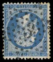 Lot 22269:3: in star of Place De La Madeleine on 1862 20c blue.