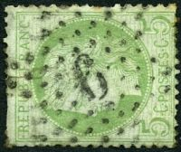 Lot 22270:6: in star (#P3) of Palais Du Luxembourg on 1871 5c Ceres.