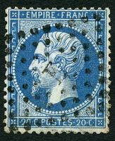 Lot 4063:E: in star (#PL with serifs) of Rue De Seze on 1862 20c blue.