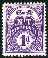 Lot 6586:Stamp Duty 1935-66 NT Wmk CofA: 1d plum P11.
