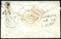 Lot 23331 [2 of 2]:1857 use of 1d red-brown heavily cancelled with poor '138' tied by boxed 'EYEMOUTH/SE24/1857' (B1) on cover with Eyemouth Harbour seal.