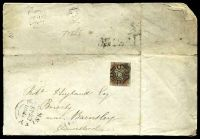 Lot 4158:1842 use of nice 1d red-brown 4-margins, cancelled with Maltese Cross in black (unfortunately not tied to the cover).