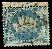 Lot 19335:12: in star of Boulevarde Beaumarchais on 1863 20c Laureate.