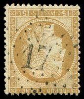 Lot 19337:17: in star of Rue Du Pont Neuf on 1871 15c thick figures Ceres.