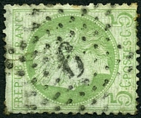 Lot 3745:6 in star (#P3) of Palais Du Luxembourg on 1871 5c Ceres.