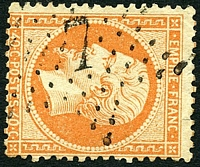 Lot 3490:7: in star of Rue De Vieilles-Hautdriettes on 1862 40c orange.