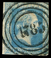 Lot 21596:1785: 4-rings on 2-margins 2sgr blue (small thin).