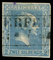 Lot 18971:1858-60 Crossed Background no Wmk Mi #11a 2sgr grey-blue 4-margins, small purple stain and minor crease