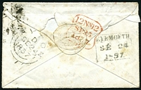 Lot 22730 [2 of 2]:1857 use of 1d red-brown heavily cancelled with poor '138' tied by boxed 'EYEMOUTH/SE24/1857' (B1) on cover with Eyemouth Harbour seal.