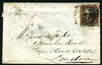 Lot 22730 [1 of 2]:1857 use of 1d red-brown heavily cancelled with poor '138' tied by boxed 'EYEMOUTH/SE24/1857' (B1) on cover with Eyemouth Harbour seal.