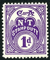 Lot 7293:Stamp Duty 1935-66 NT Wmk CofA: 1d plum P11.