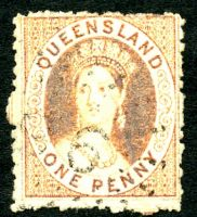 Lot 1504:1866 Small Chalon Wmk QUEENSLAND POSTAGE Perf 13 SG #51 1d orange-vermilion (partly oxidized), Cat £28.
