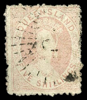 Lot 1135:1866 Small Chalon Litho 2nd Transfer No Wmk SG #58 5/- pale rose, Cat £80.