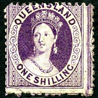 Lot 1296:1868-78 Small Chalon Wmk 1st Crown/Q Perf 12 SG #109 1/- purple, Cat £140, small tear at base.