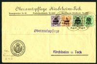 Lot 22517:1923 use of 5m, 10m, 25m & 60m surcharges, cancelled with 'MUNSINGEN ?