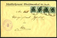 Lot 22518:1923 use of 25m x4 surcharges, cancelled with 'NAGOLD/16MAI/23/1112V' (B2), to Caln.